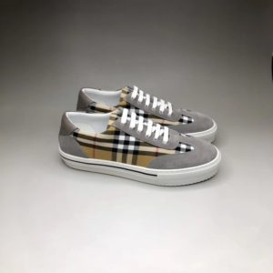 BURBERRY CHECK CANVAS AND SUEDE SNEAKERS 버버리 체크 앤 스웨이드 스니커즈