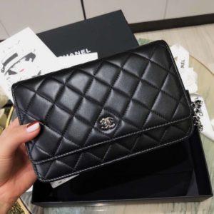 [CHANEL] 클래식 월렛 온 체인백 WOC 크로스백 블랙 Chanel Classic Wallet on Chain metal black AP0250