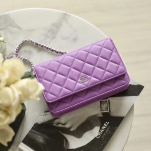 [CHANEL] 클래식 월렛 온 체인백 WOC 크로스백 퍼플 Chanel Classic Wallet on Chain metal