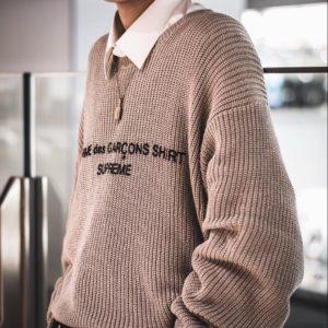 [SUPREME X Comme Des Garçons] 슈프림 X 꼼데가르송 로고 니트 스웨터 SHIRT Tan Sweater