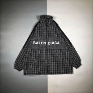 [BALENCIAGA] 발렌시아가 체크 무늬 집업 저지 재킷
