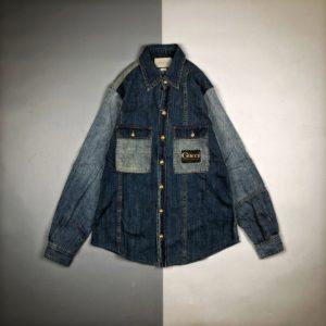 [GUCCI] 구찌 20FW 워싱 패치 컬러 블로킹 롱 슬리브 데님 셔츠 재킷