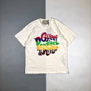 [GUCCI] 구찌 21SS 레인보우 레터 로고 프린트 반팔 티셔츠