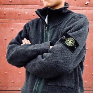 [STONE ISLAND] 스톤아일랜드 21FW 암로고 위시드 헤비 카디건 스웨터 코트