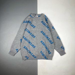 [BALENCIAGA] 발렌시아가 로고 자카드 울 롱 슬리브 크루넥 스웨터