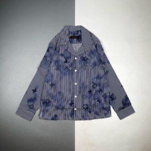 [LOUIS VUITTON] 루이비통 21FW 로고 프린트 긴팔 파자마 셔츠
