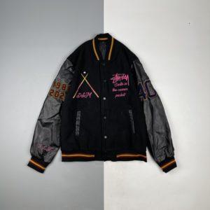 [Stussy] DSM IST 40th Anniversary Jacket Limited Edition Black 8 Leather Sleeve Jacket Embroidered Baseball Jacket Jacket Heavy Co-branded Limited Baseball Clothes Vibe Wind Mandatory Armband Embroidered Jacket